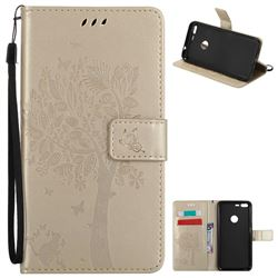 Embossing Butterfly Tree Leather Wallet Case for Google Pixel XL - Champagne