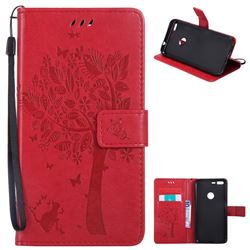 Embossing Butterfly Tree Leather Wallet Case for Google Pixel XL - Red