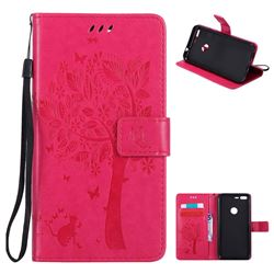 Embossing Butterfly Tree Leather Wallet Case for Google Pixel XL - Rose