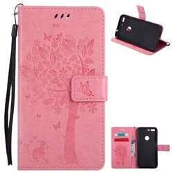 Embossing Butterfly Tree Leather Wallet Case for Google Pixel XL - Pink