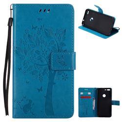 Embossing Butterfly Tree Leather Wallet Case for Google Pixel XL - Blue