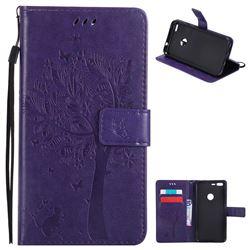 Embossing Butterfly Tree Leather Wallet Case for Google Pixel XL - Purple