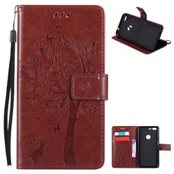 Embossing Butterfly Tree Leather Wallet Case for Google Pixel XL - Brown
