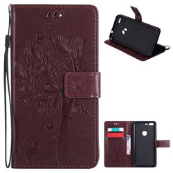 Embossing Butterfly Tree Leather Wallet Case for Google Pixel XL - Coffee