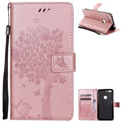 Embossing Butterfly Tree Leather Wallet Case for Google Pixel XL - Rose Pink