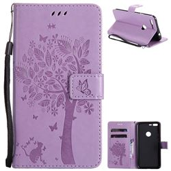 Embossing Butterfly Tree Leather Wallet Case for Google Pixel XL - Violet