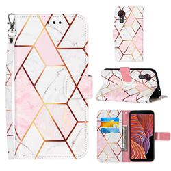 Pink White Stitching Color Marble Leather Wallet Case for Samsung Galaxy Xcover 5
