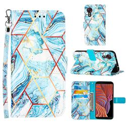 Lake Blue Stitching Color Marble Leather Wallet Case for Samsung Galaxy Xcover 5