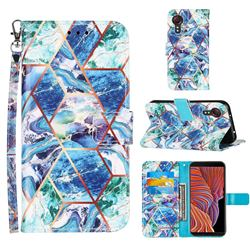 Green and Blue Stitching Color Marble Leather Wallet Case for Samsung Galaxy Xcover 5