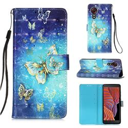 Gold Butterfly 3D Painted Leather Wallet Case for Samsung Galaxy Xcover 5