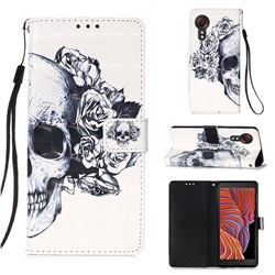 Skull Flower 3D Painted Leather Wallet Case for Samsung Galaxy Xcover 5