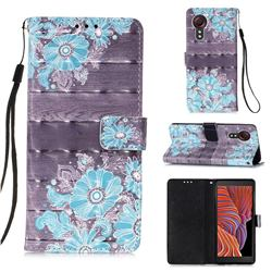 Blue Flower 3D Painted Leather Wallet Case for Samsung Galaxy Xcover 5