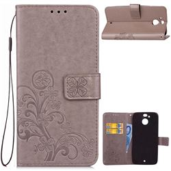 Embossing Imprint Four-Leaf Clover Leather Wallet Case for HTC 10 Evo / HTC Bolt - Grey
