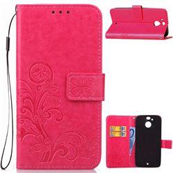 Embossing Imprint Four-Leaf Clover Leather Wallet Case for HTC 10 Evo / HTC Bolt - Rose