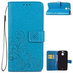 Embossing Imprint Four-Leaf Clover Leather Wallet Case for HTC 10 Evo / HTC Bolt - Blue