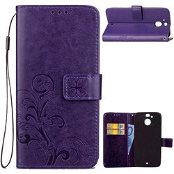Embossing Imprint Four-Leaf Clover Leather Wallet Case for HTC 10 Evo / HTC Bolt - Purple