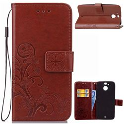 Embossing Imprint Four-Leaf Clover Leather Wallet Case for HTC 10 Evo / HTC Bolt - Brown