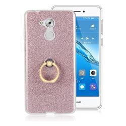 Luxury Soft TPU Glitter Back Ring Cover with 360 Rotate Finger Holder Buckle for Huawei Enjoy 6s Honor 6C Nova Smart - Pink