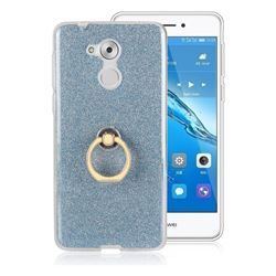 Luxury Soft TPU Glitter Back Ring Cover with 360 Rotate Finger Holder Buckle for Huawei Enjoy 6s Honor 6C Nova Smart - Blue