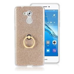 Luxury Soft TPU Glitter Back Ring Cover with 360 Rotate Finger Holder Buckle for Huawei Enjoy 6s Honor 6C Nova Smart - Golden