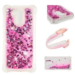 Dynamic Liquid Glitter Sand Quicksand TPU Case for Huawei Enjoy 6s Honor 6C Nova Smart - Pink Love Heart