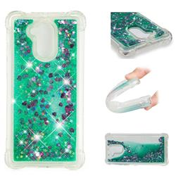 Dynamic Liquid Glitter Sand Quicksand TPU Case for Huawei Enjoy 6s Honor 6C Nova Smart - Green Love Heart