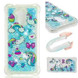 Fashion Unicorn Dynamic Liquid Glitter Sand Quicksand Star TPU Case for Huawei Enjoy 6s Honor 6C Nova Smart