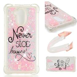 Never Stop Dreaming Dynamic Liquid Glitter Sand Quicksand Star TPU Case for Huawei Enjoy 6s Honor 6C Nova Smart