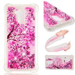 Pink Cherry Blossom Dynamic Liquid Glitter Sand Quicksand Star TPU Case for Huawei Enjoy 6s Honor 6C Nova Smart