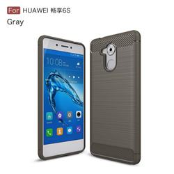 Luxury Carbon Fiber Brushed Wire Drawing Silicone TPU Back Cover for Huawei Enjoy 6s Honor 6C Nova Smart - Gray