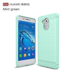 Luxury Carbon Fiber Brushed Wire Drawing Silicone TPU Back Cover for Huawei Enjoy 6s Honor 6C Nova Smart - Mint Green