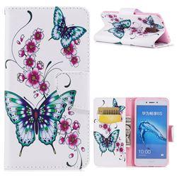 Peach Butterfly Leather Wallet Case for Huawei Enjoy 6s Honor 6C Nova Smart