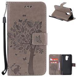 Embossing Butterfly Tree Leather Wallet Case for Huawei Enjoy 6s Honor 6C Nova Smart - Grey