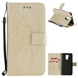 Embossing Butterfly Tree Leather Wallet Case for Huawei Enjoy 6s Honor 6C Nova Smart - Champagne