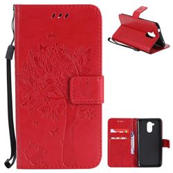 Embossing Butterfly Tree Leather Wallet Case for Huawei Enjoy 6s Honor 6C Nova Smart - Red