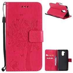 Embossing Butterfly Tree Leather Wallet Case for Huawei Enjoy 6s Honor 6C Nova Smart - Rose