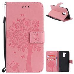 Embossing Butterfly Tree Leather Wallet Case for Huawei Enjoy 6s Honor 6C Nova Smart - Pink