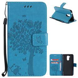Embossing Butterfly Tree Leather Wallet Case for Huawei Enjoy 6s Honor 6C Nova Smart - Blue