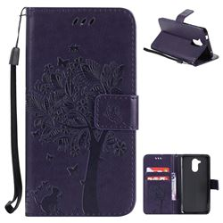 Embossing Butterfly Tree Leather Wallet Case for Huawei Enjoy 6s Honor 6C Nova Smart - Purple