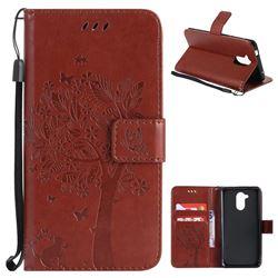 Embossing Butterfly Tree Leather Wallet Case for Huawei Enjoy 6s Honor 6C Nova Smart - Brown