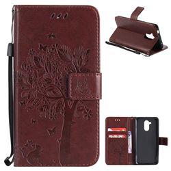 Embossing Butterfly Tree Leather Wallet Case for Huawei Enjoy 6s Honor 6C Nova Smart - Coffee