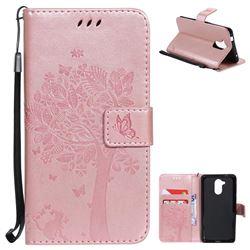Embossing Butterfly Tree Leather Wallet Case for Huawei Enjoy 6s Honor 6C Nova Smart - Rose Pink