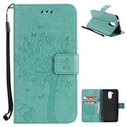 Embossing Butterfly Tree Leather Wallet Case for Huawei Enjoy 6s Honor 6C Nova Smart - Cyan
