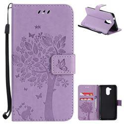 Embossing Butterfly Tree Leather Wallet Case for Huawei Enjoy 6s Honor 6C Nova Smart - Violet
