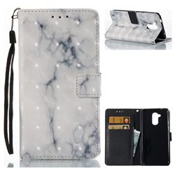 White Gray Marble 3D Painted Leather Wallet Case for Huawei Enjoy 6s Honor 6C Nova Smart
