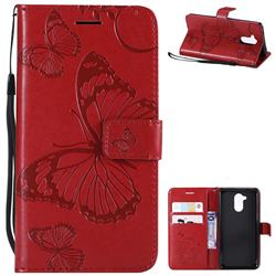 Embossing 3D Butterfly Leather Wallet Case for Huawei Enjoy 6s Honor 6C Nova Smart - Red