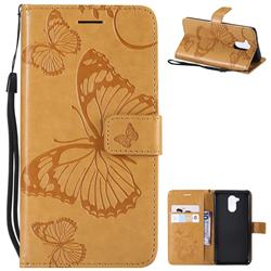 Embossing 3D Butterfly Leather Wallet Case for Huawei Enjoy 6s Honor 6C Nova Smart - Yellow