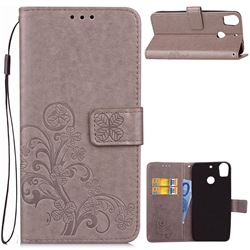 Embossing Imprint Four-Leaf Clover Leather Wallet Case for HTC Desire 10 Pro - Grey