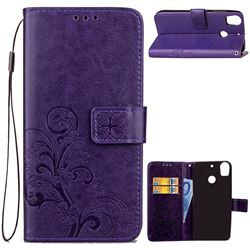 Embossing Imprint Four-Leaf Clover Leather Wallet Case for HTC Desire 10 Pro - Purple