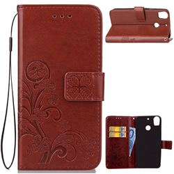 Embossing Imprint Four-Leaf Clover Leather Wallet Case for HTC Desire 10 Pro - Brown